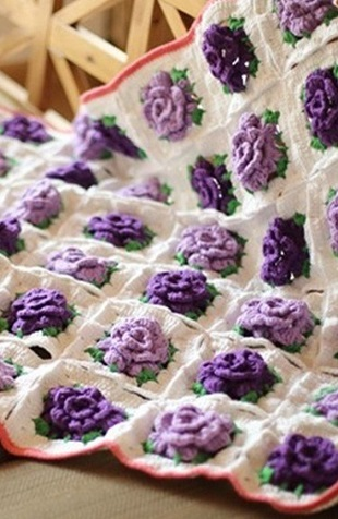 Purple Rose Crochet blanket