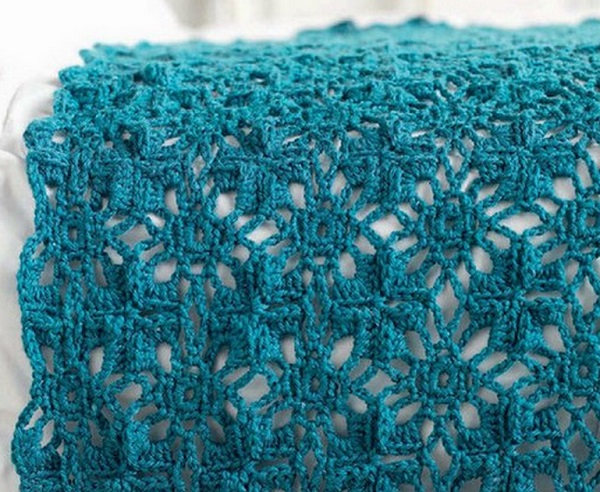 Turquoise Crochet Throw 1