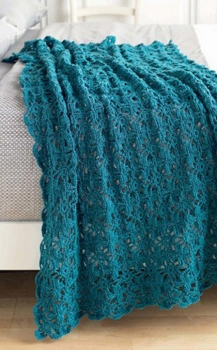 Turquoise Crochet Throw