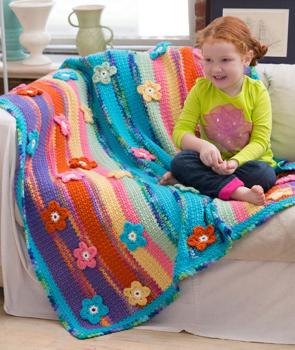 stripes flowers crochet blanket