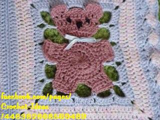 teddy bear crochet blanket 1