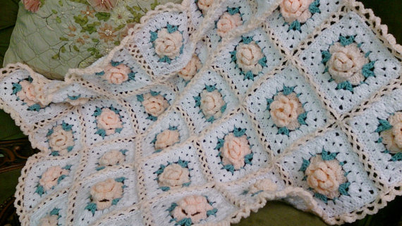 Vintage Look Crocheted Roses Afghan Patterns Patterns Kid