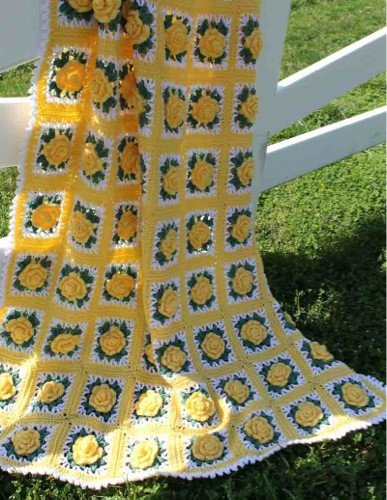 Yellow and green crochet roses blanket
