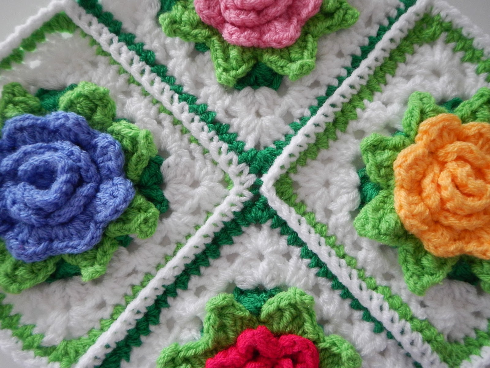 Free Crochet Rose Square Pattern : Many Roses Afghan to Crochet Free Patterns and Ideas ...