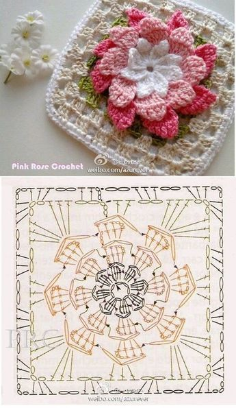 Free crochet flower granny square patterns