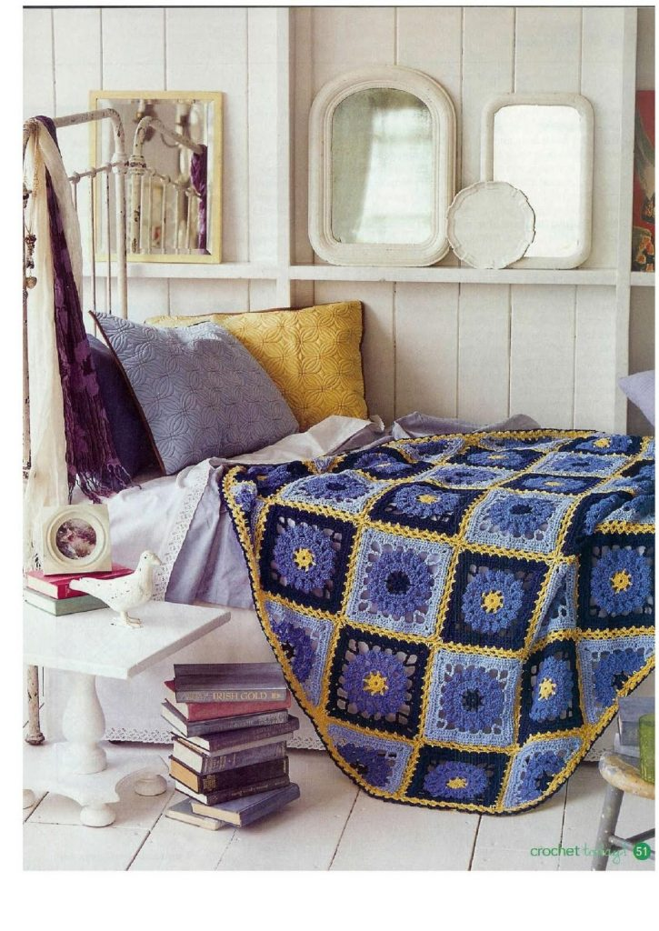 Free Crochet Pattern for Blue Skies Squares Bedspread