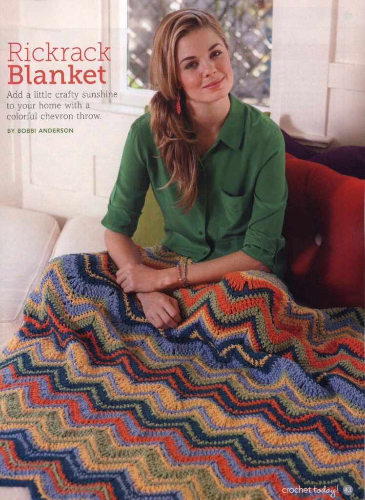 Rickrack ripple stitch crochet blanket pattern