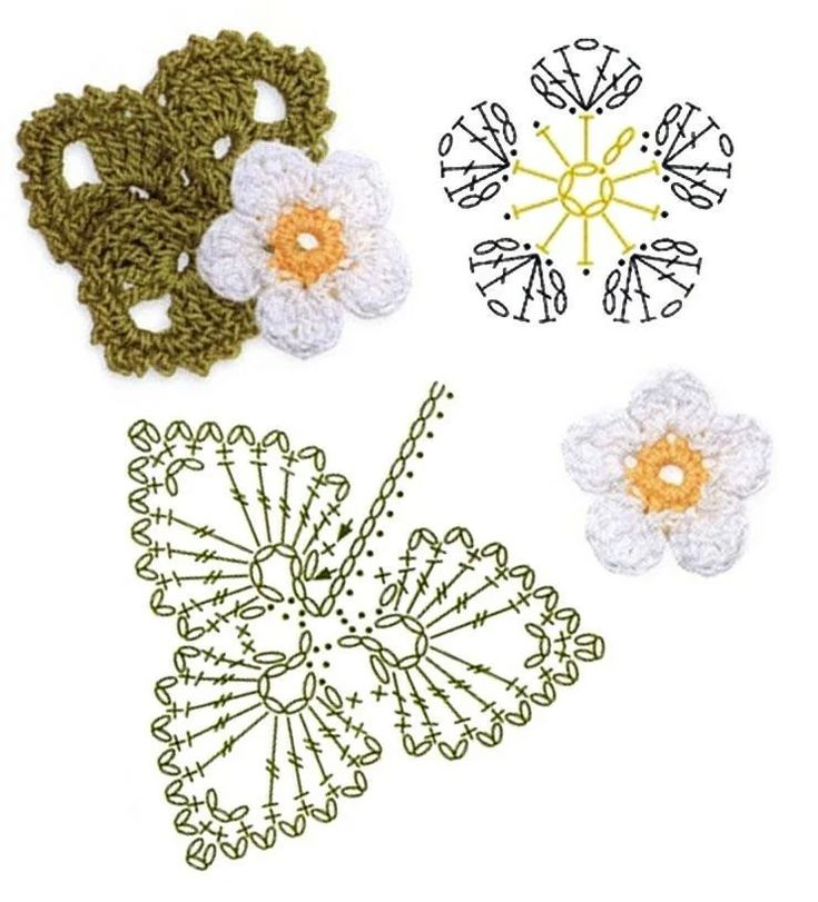 Free crochet flower and leaf