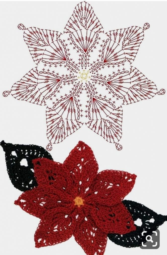Poinsettia crochet flower pattern